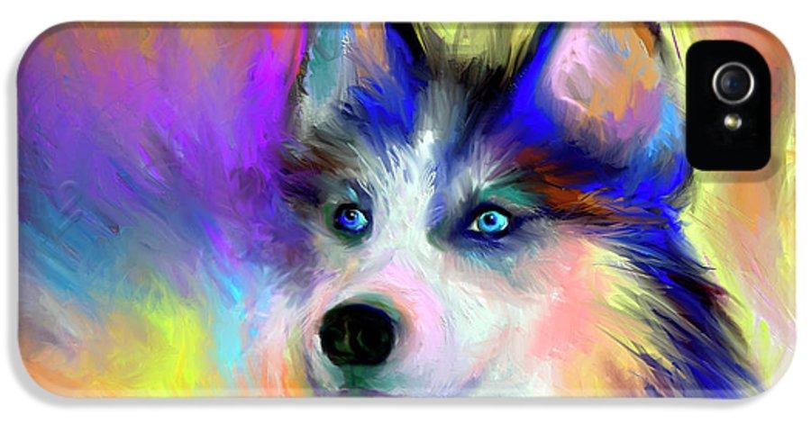 Siberian Husky Portrait Print IPhone 5 Case featuring the painting Electric Siberian Husky Dog Painting by Svetlana Novikova