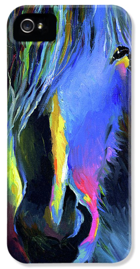 Vibrant Horse Painting Prints IPhone 5 Case featuring the painting electric Stallion horse painting by Svetlana Novikova
