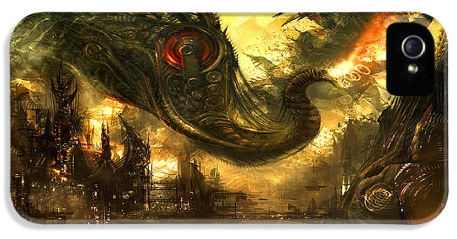 Concept Art IPhone 5 Case featuring the digital art Elephas Maximus by Alex Ruiz