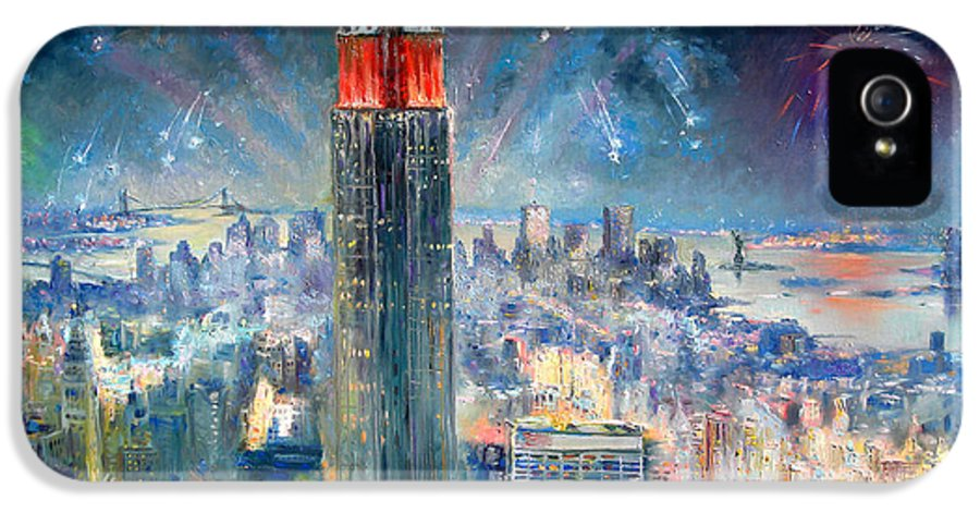 Empire State Building IPhone 5 Case featuring the painting Empire State Building In 4th Of July by Ylli Haruni