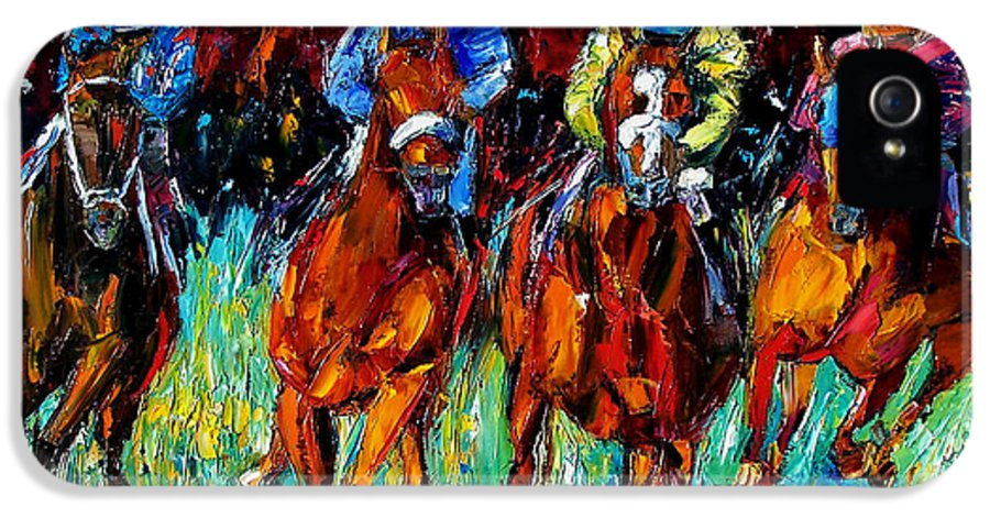 Horse Race IPhone 5 Case featuring the painting Endurance by Debra Hurd