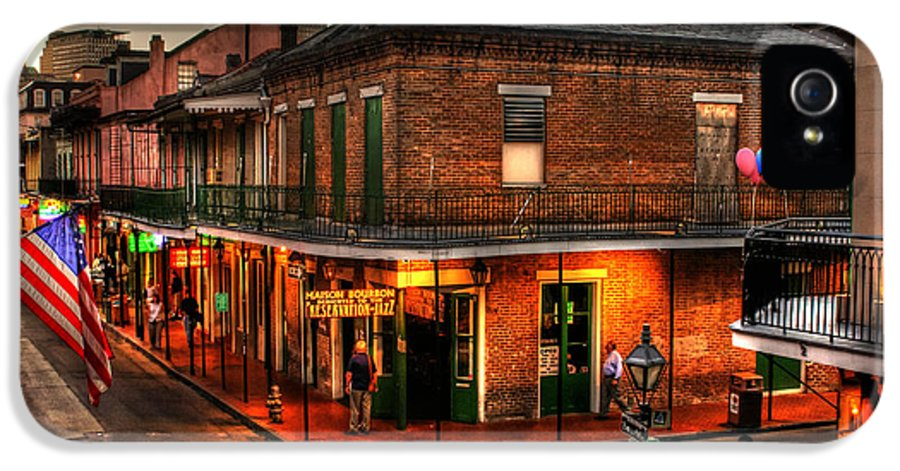 New Orleans IPhone 5 Case featuring the photograph Evening On Bourbon by Greg and Chrystal Mimbs