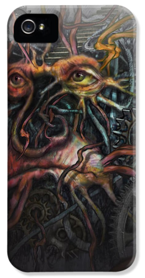 Watercolor IPhone 5 Case featuring the painting Face Machine by Frank Robert Dixon