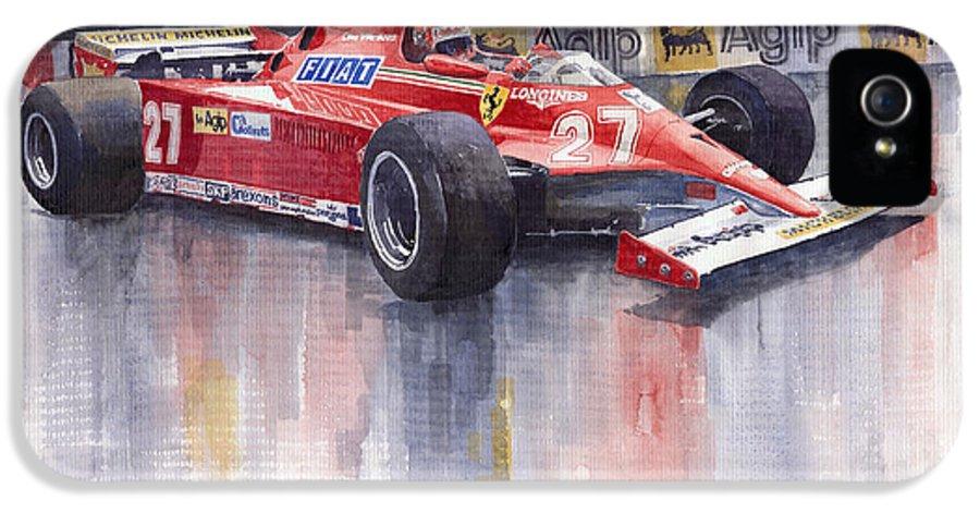 Watercolour IPhone 5 Case featuring the painting Ferrari 126c 1981 Monte Carlo Gp Gilles Villeneuve by Yuriy Shevchuk