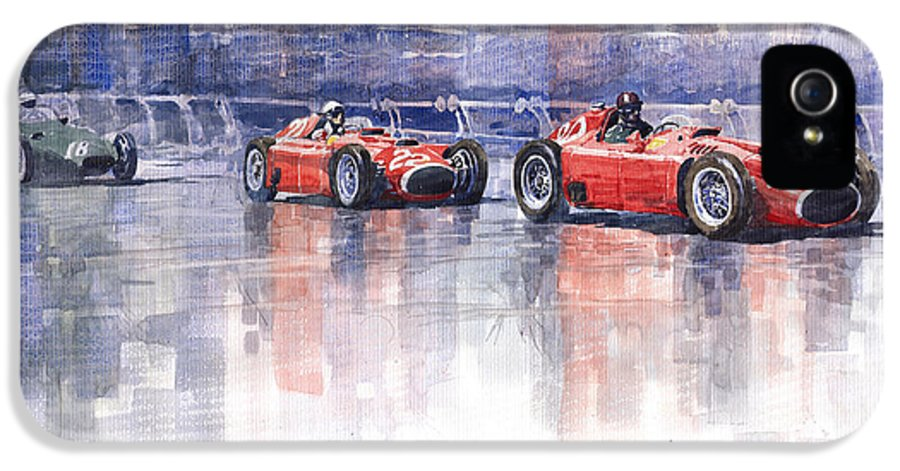 Watercolour IPhone 5 Case featuring the painting Ferrari D50 Monaco Gp 1956 by Yuriy Shevchuk