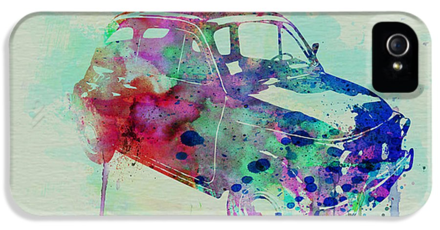 Fiat 500 IPhone 5 Case featuring the painting Fiat 500 Watercolor by Naxart Studio