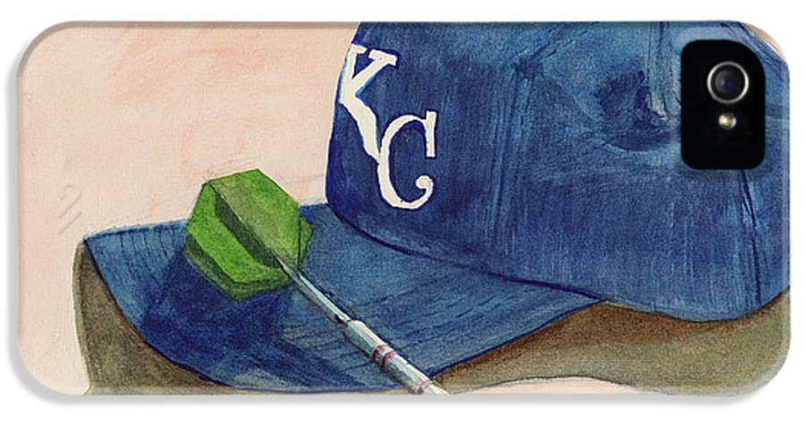 Kansas City Royal IPhone 5 Case featuring the painting Fielder by Terry Lewey