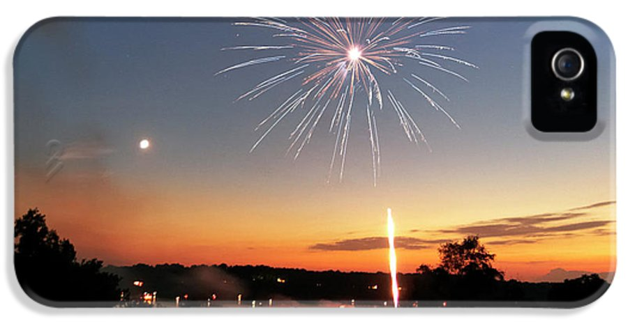 Fireworks IPhone 5 Case featuring the photograph Fireworks And Sunset by Amber Flowers