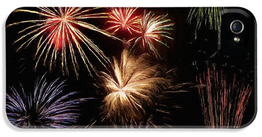 Fireworks IPhone 5 Case featuring the painting Fireworks by Jeff Kolker