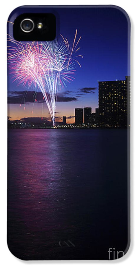 4th IPhone 5 Case featuring the photograph Fireworks Over Waikiki by Brandon Tabiolo - Printscapes