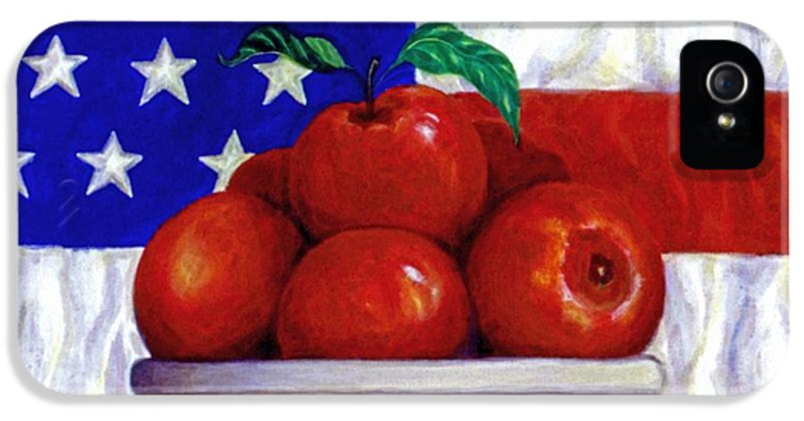 American Flag IPhone 5 Case featuring the painting Flag And Apples by Linda Mears