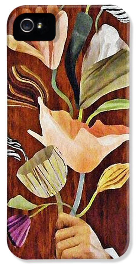 Floral IPhone 5 Case featuring the mixed media Flowers For Catherine by Sarah Loft