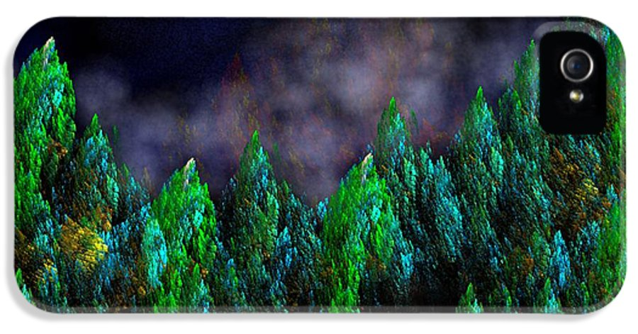 Abstract Digital Painting IPhone 5 Case featuring the digital art Forest Primeval by David Lane