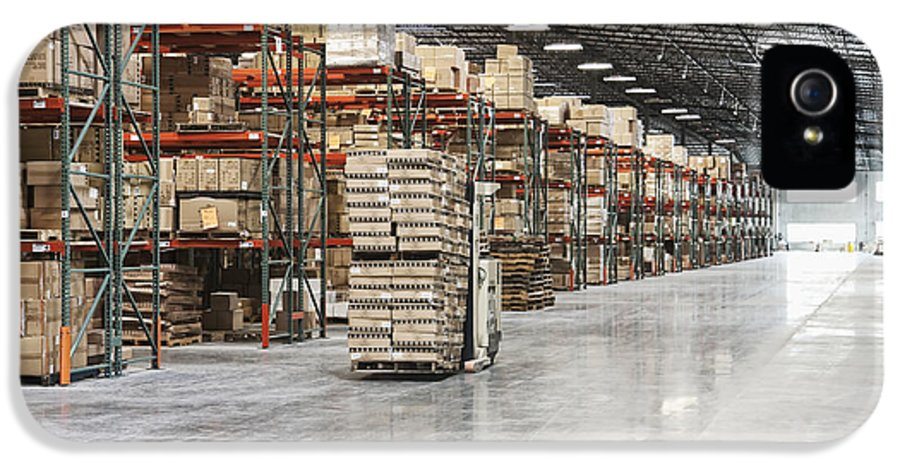 Architecture IPhone 5 Case featuring the photograph Forklift Moving Product In A Warehouse by Jetta Productions, Inc
