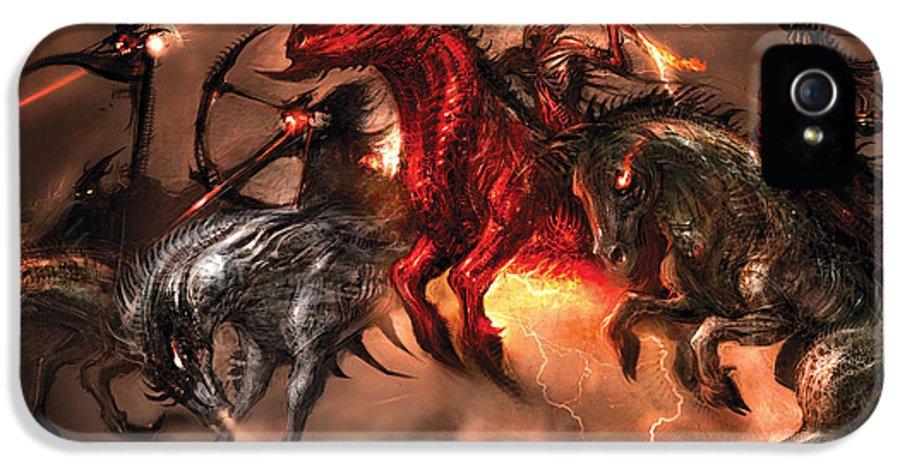Concept Art IPhone 5 Case featuring the digital art Four Horsemen by Alex Ruiz