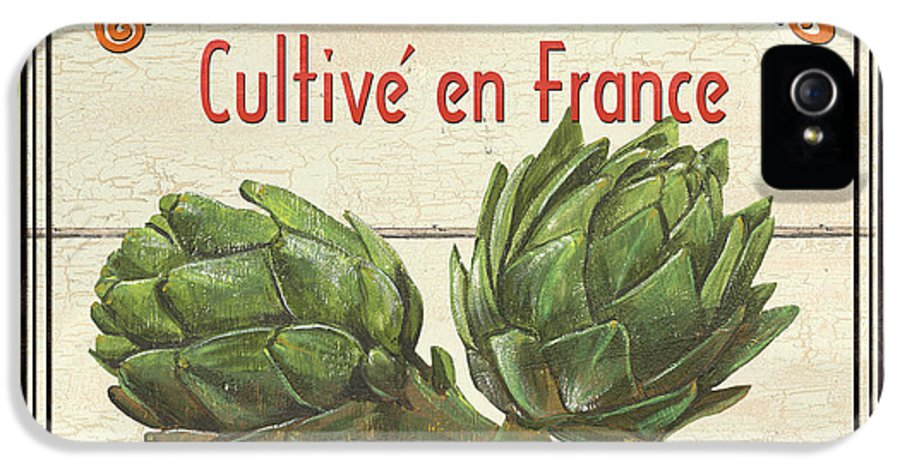 Artichokes IPhone 5 Case featuring the painting French Vegetable Sign 2 by Debbie DeWitt