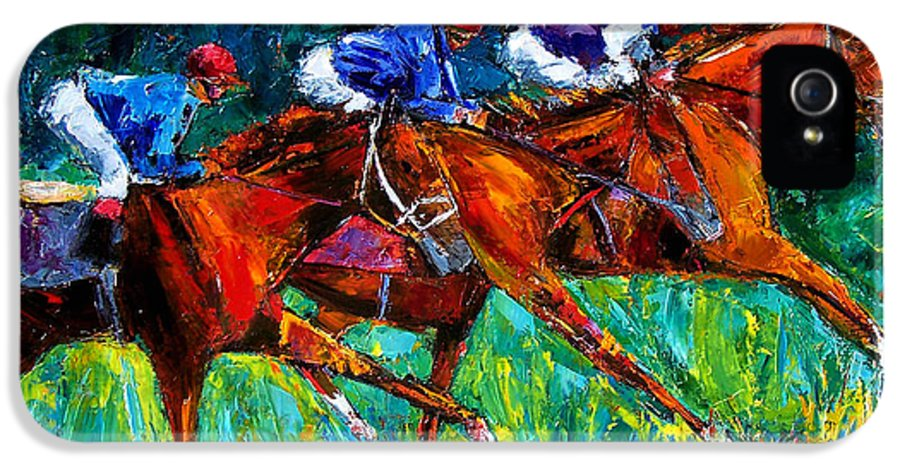 Horse Race IPhone 5 Case featuring the painting Full Speed by Debra Hurd