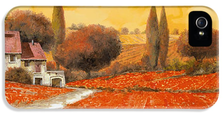 Tuscany IPhone 5 Case featuring the painting fuoco di Toscana by Guido Borelli