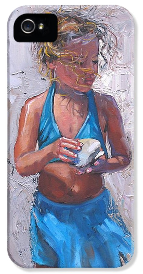 Young Girl IPhone 5 Case featuring the painting Gabby by Laura Lee Zanghetti