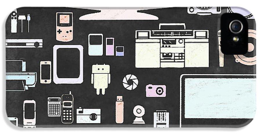 Audio IPhone 5 Case featuring the digital art Gadgets Icon by Setsiri Silapasuwanchai