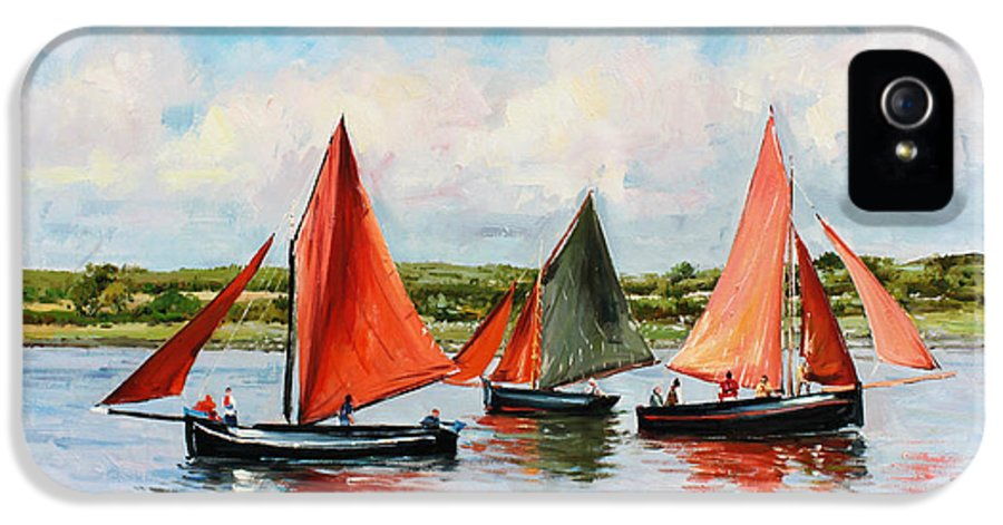 Galway Hooker IPhone 5 Case featuring the painting Galway Hookers by Conor McGuire