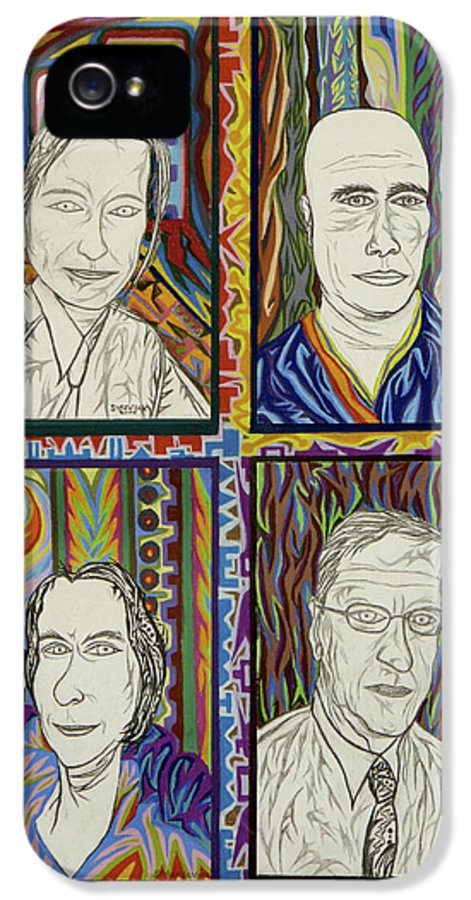 Portrait IPhone 5 Case featuring the painting Gang Of Four by Robert SORENSEN