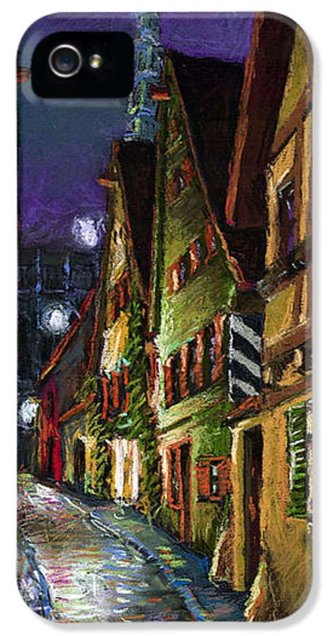 Pastel IPhone 5 Case featuring the painting Germany Ulm Old Street Night Moon by Yuriy Shevchuk