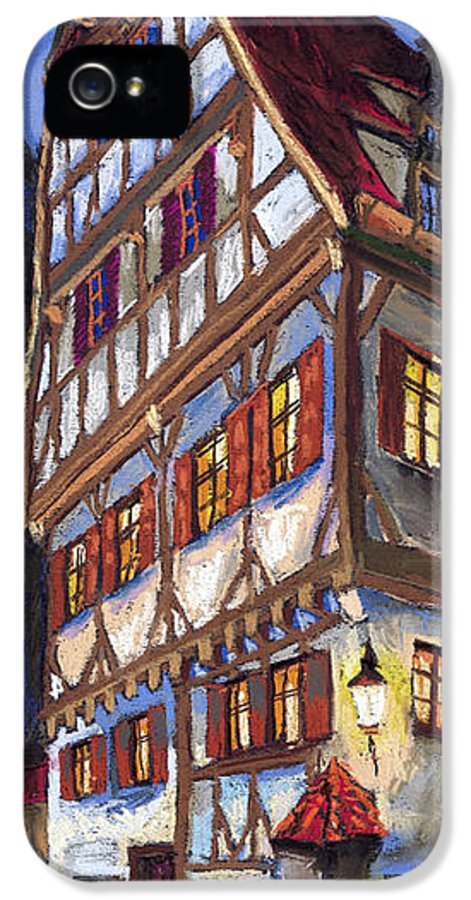 Pastel IPhone 5 Case featuring the painting Germany Ulm Old Street by Yuriy Shevchuk