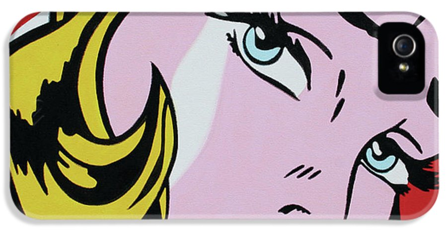 Ludzska IPhone 5 Case featuring the painting Girl With Ribbon by Luis Ludzska