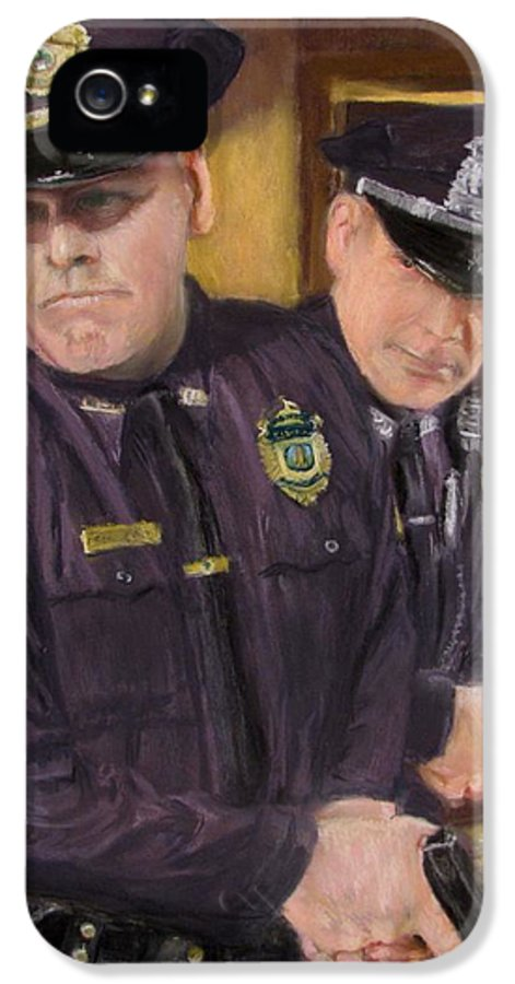 Law Enforcement IPhone 5 Case featuring the painting Go On Three...1....2.... by Jack Skinner