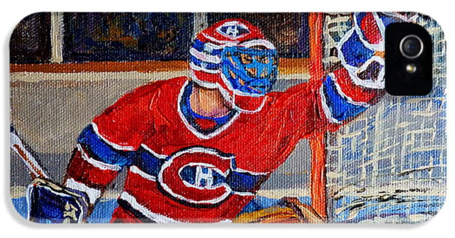 Hockey IPhone 5 Case featuring the painting Goalie Makes The Save Stanley Cup Playoffs by Carole Spandau