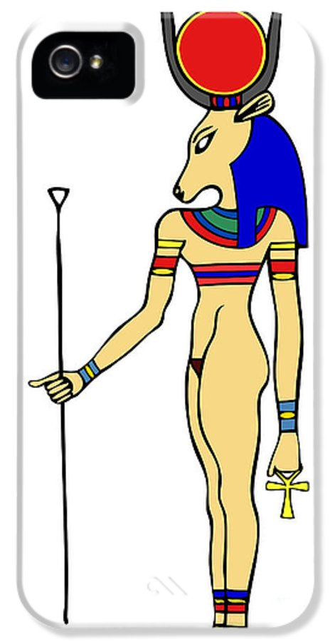 Relief IPhone 5 Case featuring the digital art God Of Ancient Egypt - Hathor by Michal Boubin
