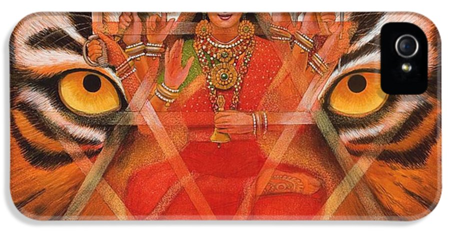 Durga IPhone 5 / 5s Case featuring the painting Goddess Durga by Sue Halstenberg