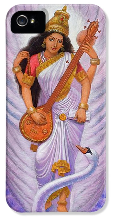 Saraswati IPhone 5 Case featuring the painting Goddess Saraswati by Sue Halstenberg