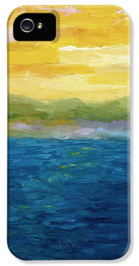 Lake IPhone 5 Case featuring the painting Gold And Pink Sunset by Michelle Calkins