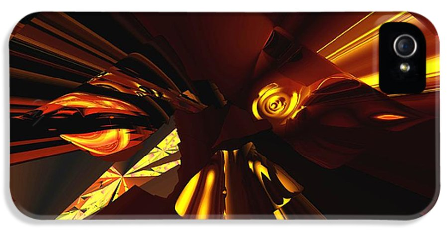 Abstract IPhone 5 Case featuring the digital art Golden Brown Abstract by David Lane