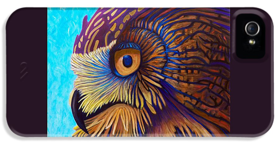 Owl IPhone 5 Case featuring the painting Golden Silence by Brian Commerford