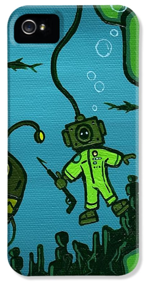 Fishing IPhone 5 Case featuring the painting Gone Fish'n by Dan Keough