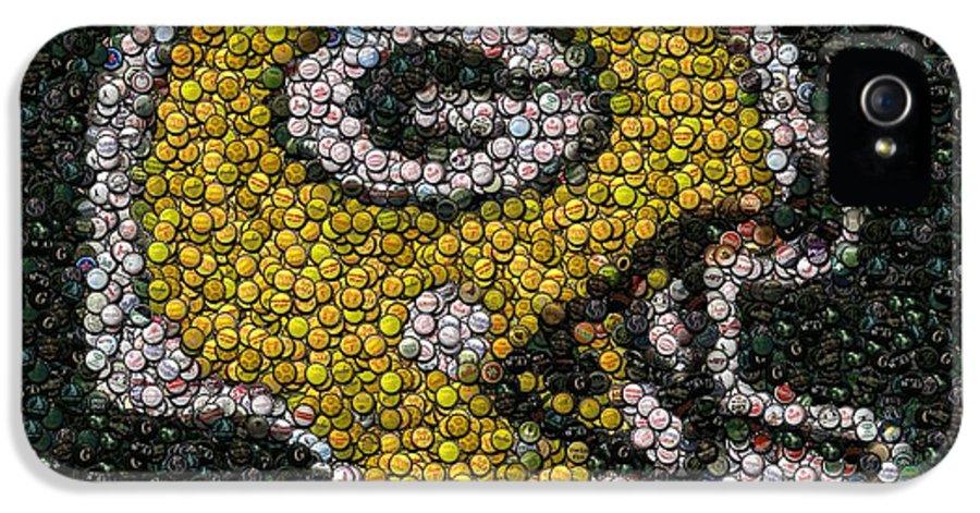 Packers IPhone 5 Case featuring the digital art Green Bay Packers Bottle Cap Mosaic by Paul Van Scott