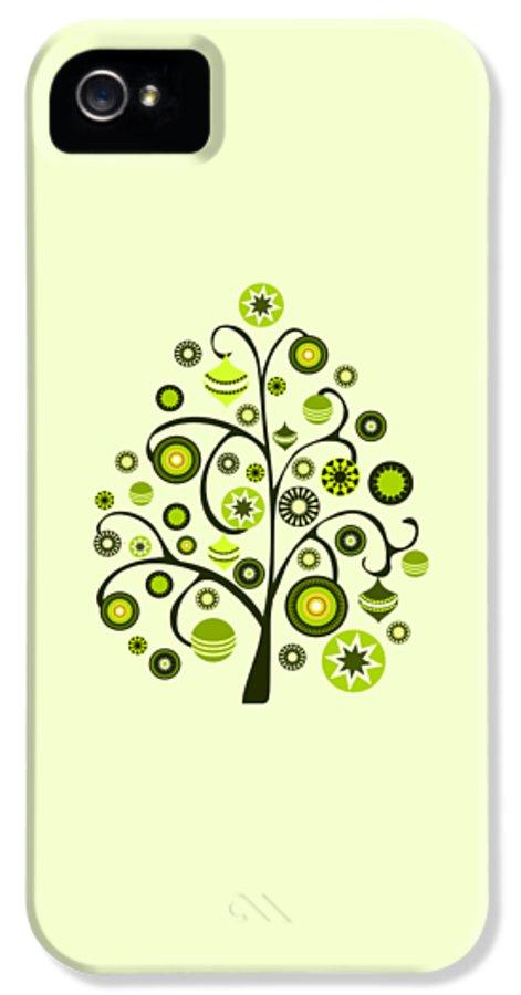 Interior IPhone 5 Case featuring the digital art Green Ornaments by Anastasiya Malakhova