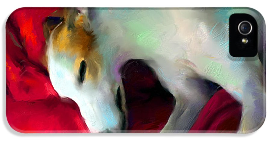 Greyhound IPhone 5 Case featuring the painting Greyhound Dog Portrait by Svetlana Novikova
