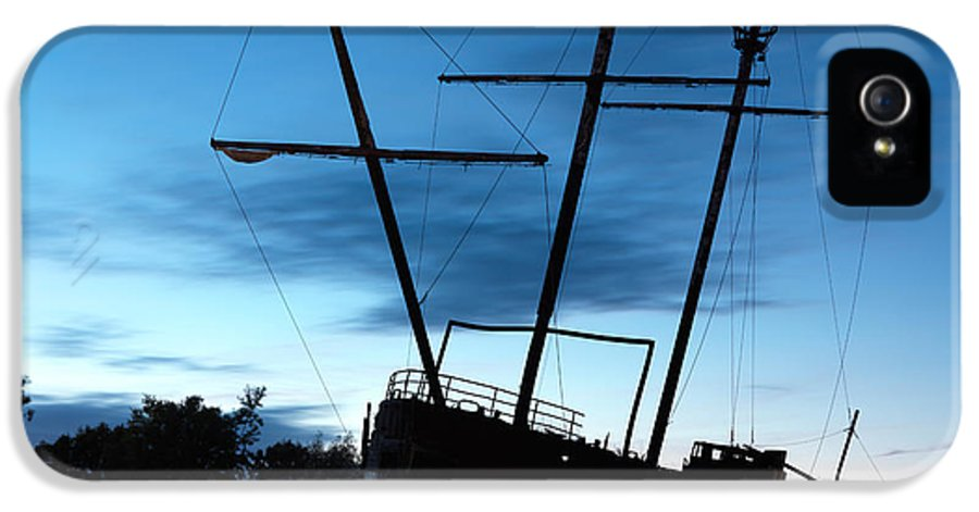 Ship IPhone 5 Case featuring the photograph Grounded Tall Ship Silhouette by Oleksiy Maksymenko
