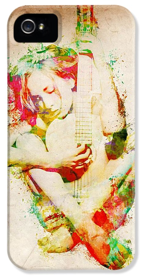 Guitar IPhone 5 Case featuring the digital art Guitar Lovers Embrace by Nikki Smith