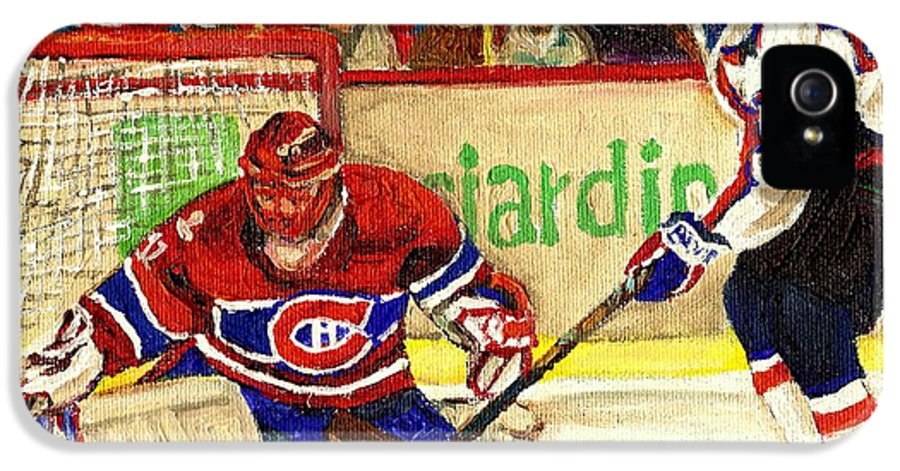 Hockey IPhone 5 Case featuring the painting Halak Makes Another Save by Carole Spandau