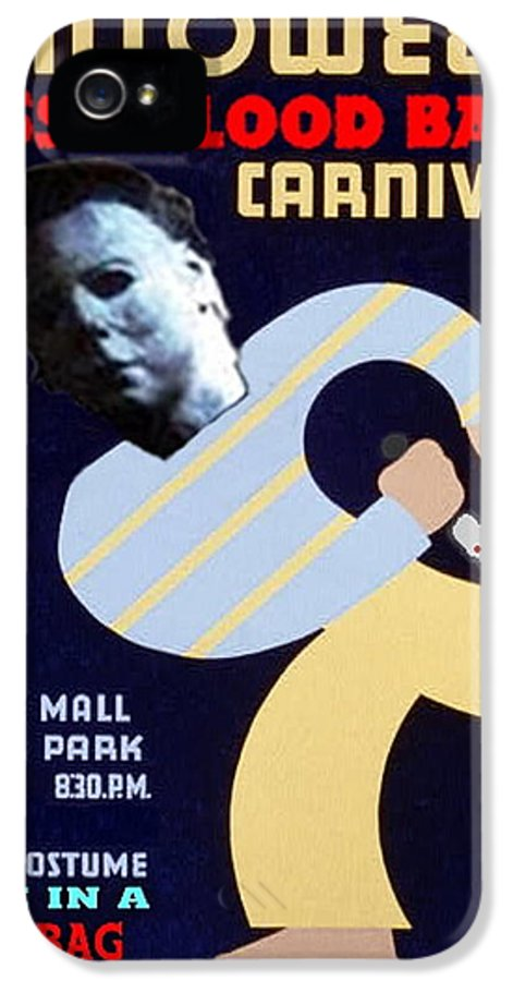 Michael Myers IPhone 5 Case featuring the mixed media Halloween Wpa Parody Poster by Paul Van Scott