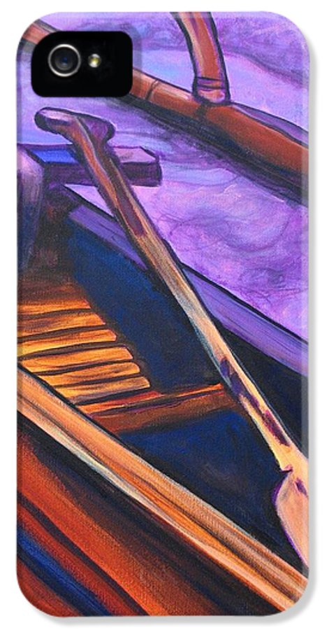 Canoe IPhone 5 Case featuring the painting Hawaiian Canoe by Marionette Taboniar