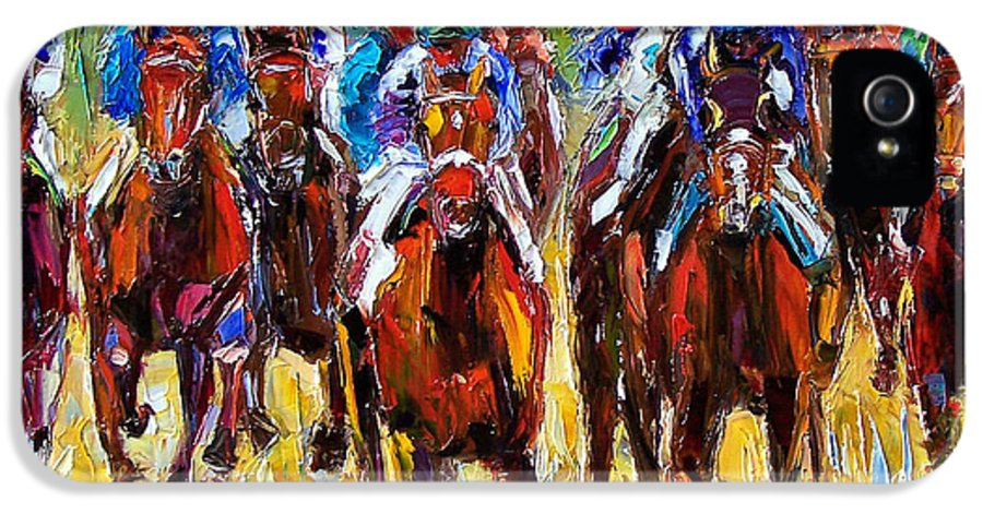 Equestrian IPhone 5 Case featuring the painting Heated Race by Debra Hurd