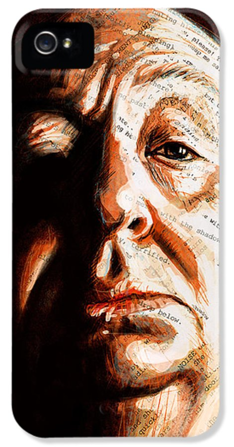 Alfred Hitchcock IPhone 5 Case featuring the painting Hitchcock by Fay Helfer