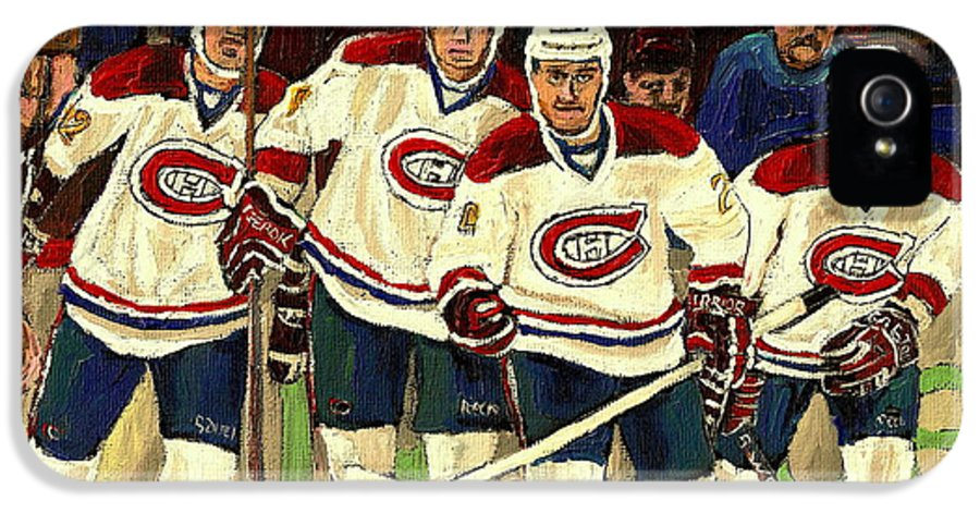Hockey Art The Habs Fab Four IPhone 5 Case featuring the painting Hockey Art The Habs Fab Four by Carole Spandau