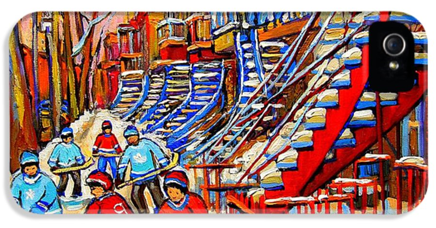 Montreal City IPhone 5 Case featuring the painting Hockey Game Near The Red Staircase by Carole Spandau